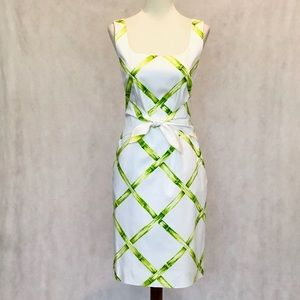 David Meister Sleeveless Bamboo Pattern Dress